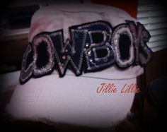 Dallas Cowboys hat cadet white navy bling by JillieLillie on Etsy, $27.00