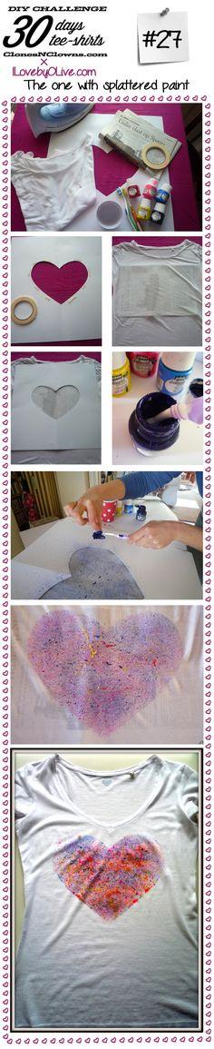 DIY 30 days 30 tee-shirts : #27 with splattered paint - DIY BLOG