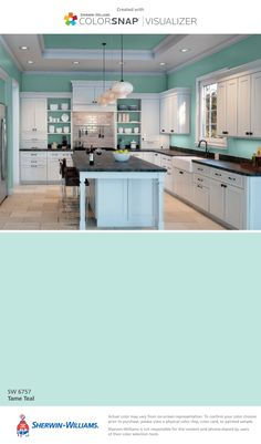 I found this color with ColorSnap® Visualizer for iPhone by Sherwin-Williams: Tame Teal (SW 6757). Visualizer App, Bathroom Colors, Colors For Kitchen Walls, Teal Bathrooms, Gray Kitchen Walls, Amy's Kitchen, Teal Kitchen Decor, Kitchen Layout, Navy Kitchen