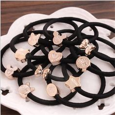 10pcs 10style 55mm Gold Plated Black Elastic Ponytail Holders Hair Accessories For Girl Women Rubber Band Tie Gum