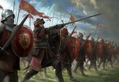 Lannister Guards by Stefan Kopinski Fantasy Battle, Fantasy Armor, Medieval Fantasy, Fantasy Concept Art, Fantasy Character Design, Nave Star Wars, Armadura Medieval, Age Of Empires, Knight Art