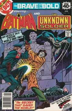 """"""": Batman teams up with the Unknown Soldier to stop a Nazi spy from stealing plans to the atomic bomb. Batman teams up with the Unknown Soldier to stop a Nazi spy from stealing plans to the atomic bomb. Batman Comic Books, Batman Comics, Fun Comics, Comic Art, Vintage Comic Books, Vintage Comics, Caricature, Justice Society Of America, Brave And The Bold"""