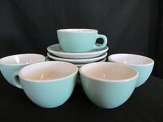 5-Shenango-China-RimRol-WelRoc-Restaurant-Ware-Turquoise-Coffee-Cups-Saucers