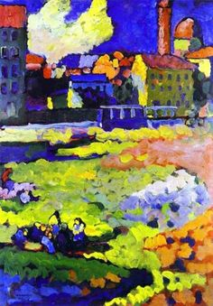 Wassily Kandinsky - Munich-Schwabing with the Church of St. Ursula - Wassily Kandinsky - Wikipedia, the free encyclopedia Art Kandinsky, Wassily Kandinsky Paintings, Drawn Art, Art Abstrait, Russian Art, Henri Matisse, Art Plastique, Painting & Drawing, Artist Painting