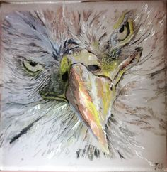 Eagle #2 - painting on glass