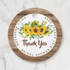 Rustic Sunflowers Wood Thank You Wedding Favor Favor Tags