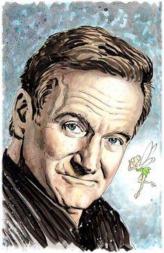 Robin Williams Tinkerbell tribute  11 x 17 by GaryShipmanArtStore