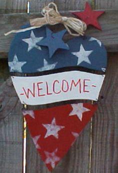 Americana Welcome Heart Flag Door Decor