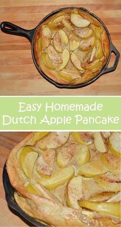 Just like the pannekoeken from the Dutch, this protein heavy breakfast is made in a cast iron skillet and is ready in about a half hour. Fairly low in sugar, this is a great twist on breakfast for dinner and an easy recipe to make. Baked Apple Pancake, German Apple Pancake, Puff Pancake, German Pancakes, Japanese Pancake, Iron Skillet Recipes, Cast Iron Recipes, Cast Iron Pancake Recipe, Cast Iron Skillet Apple Pie Recipe