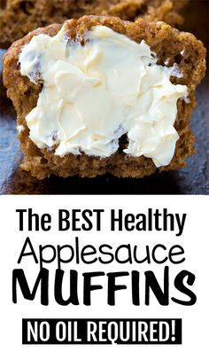 Easy Vegan Applesauce Muffins- Easy Vegan Applesauce Muffins These deliciously soft and moist homemade applesauce muffins can be fat free, sugar free, whole wheat, health friendly, and perfect for breakfast or dessert! Healthy Muffin Recipes, Healthy Muffins, Healthy Sweets, Healthy Baking, Whole Food Recipes, Vegetarian Recipes For Breakfast, Vegan Apple Muffins, Vegan Breakfast Muffins, Vegetarian Muffins