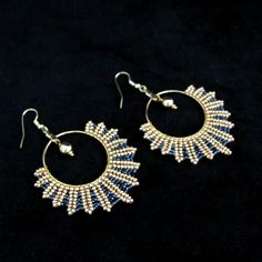Beaded Gold and Black Seed Beads , Round Hoop Earrings. Earrings measure x Chandelier Earrings, Beaded Earrings, Beaded Jewelry, Hoop Earrings, Black Seed, Seed Beads, Seeds, Etsy, Crystals