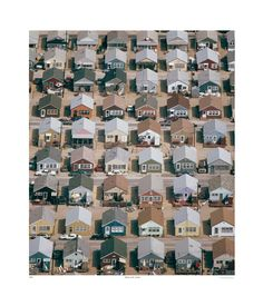 TROWBRIDGE - Shades of the Suburbs - This great birds eye view offers interesting documentation towards the varying shades of the suburbs. </br></br>The suburban repetition has all the visual elements of a quaint utopian backdrop, with the neat rows of 'chocolate-box' houses differing only in the choice of paint. This urban splash of colour shows us the diverse personal expression of the homes inhabitants, making the most of their property. in Contemporary white with linen slip (Frame Code…