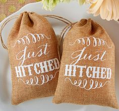 Just Hitched Burlap Favor Bags