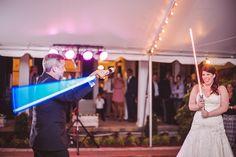Wedding Reception Light Sabers | Sharon Elizabeth Photography