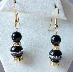 Rhinestone embedded Black Onyx Bead Earrings / by SunMoonJewels