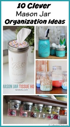 Mason jar ideas for organizing all kinds of things! They really are a great inexpensive organization tool! If you need to organize your home, you need to check out these 10 clever Mason Jar Organization Ideas!