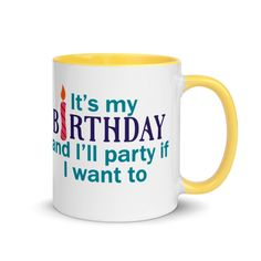 Birthday Mug-It's my party,-Age is just a number birthday mug #humor #ColofulBirthday #HappyBirthday #birthday #gift #mug #BirthdayCelebration #OverTheHill Birthday Mug, Birthday Gifts, Happy Birthday, Fun Christmas Party Ideas, Christmas Fun, Colorful Birthday, Over The Hill, Favorite Candy, Gift Certificates