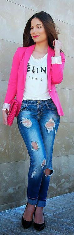 Zara Bright Fuchsia Blazer