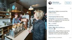 http://www.dailymail.co.uk/news/article-3485776/Hillary-s-coffee-shop-Instagram-picture-backfires-barista-served-demands-Clinton-picture-voted-BERNIE.html  https://www.reddit.com/r/The_Donald/comments/59rv1h/hillary_went_to_chipotle_no_one_noticed_you_cant/d9bc9m9/   Clinton originally tagged Avalon Bakery - another establishment she visited that day - but later corrected it