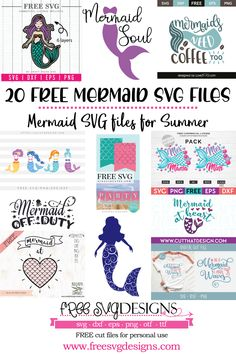 A round up of the top 20 FREE SVG files online for your Cricut and Silhouette projects. Silhouette Projects, Silhouette Design, Cricut Svg Files Free, How To Use Cricut, Silhouette Pictures, Mermaid Crafts, Cricut Creations, Summer Crafts, Craft Projects