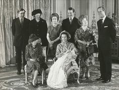 Princess Anne's son Peter Phillips is christened in the music room at Buckingham Palace, London.  Back Row: Mr Peter & Anne Phillips (paternal grandparents), Queen Elizabeth II, The Queen Mother, and Prince Philip Duke of Edinburgh.