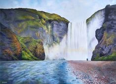 Majesty Waterfall Original Painting by Julia Underwood & Jewells Art Buy Prints, Prints For Sale, Feng Shui Koi Fish, Waterfall Paintings, Art Articles, Art Sites, Painting Process, Acrylic Painting Canvas, Online Art Gallery