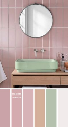Want pretty and feminine bathroom? Think Pink! This mauve pink bathroom by Topps Tiles prove it's a great choice for any modern home. Pink wall contrasts with...