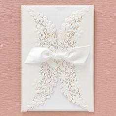 Flower Lace Lasercut with Ribbon by B Wedding Invitations