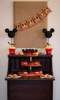 Jennifer W's Birthday / Mickey Mouse - Photo Gallery at Catch My Party Mickey Mouse Banner, Mickey Mouse Birthday Theme, Theme Mickey, Bolo Mickey, Mickey 1st Birthdays, Mickey Mouse Clubhouse Birthday, Mickey Mouse Parties, Mickey Party, 1st Boy Birthday