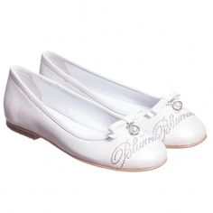 Miss Blumarine Ivory Diamante Leather Shoes at Childrensalon.com