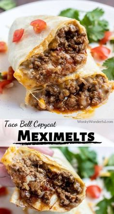 Meximelts are my guilty pleasure. This Beef Meximelt Recipe (inspired by Taco Bell) is super easy, unbelievably delicious and so much better than the drive-thru. Make a copycat version of your fast food favorite at home for an awesome lunch or dinner. #copycatrecipes #meximelts #mexicanfood #fastfoodrecipes #mexicanrecipes #tacorecipes #tacobellrecipes #easydinnerrecipes Taco Bell Copycat, Easy Dinner Recipes, New Recipes, Cooking Recipes, Easy Beef Recipes, Hamburger Meat Recipes, Fast Recipes, Wrap Recipes, Juice Recipes