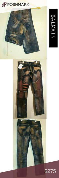 BALMAIN Paint Multi Color Jeans European  cut /Slim fit  Brand new with tags  Solid blue denim multi paint splater design Ribbed knee /belt loops 6 pockets; 2 front 2 back zip pockets Inseam 32/33  ALL LISTINGS ARE AS IS AND EXACTLY AS DESCRIBED & SHOWN IN PICTURES. I DO NOT LIST TORN, RIPPED, OR DEFECTIVE ITEMS. IF YOU FALSELY CLAIM AN ITEM IS NOT AS DESCRIBED TO GET OUT OF PAYING I WILL REPORT YOU AND BLOCK YOU! Balmain Jeans Slim Straight