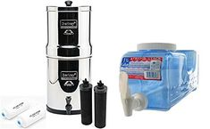 Big Berkey Countertop Water Filter System with 2 Black Berkey Elements and 2 Fluoride Filters w/ Fridge Stack Beverage Container Osmosis Water Filter, Best Water Filter, Whole House Water Filter, Drinking Water Filter, Water Filters, Countertop Water Filter, Best Mixed Drinks, Winter Drinks, Summer Drinks