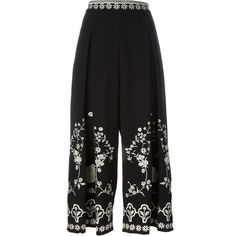 Temperley London Embroidered Culottes ($1,055) ❤ liked on Polyvore featuring pants, capris, black, temperley london and embroidered pants