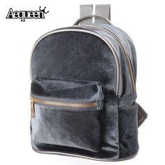 Aequeen mode frauen rucksäcke schultaschen nette samt casual retro backapck flanell mochila reißverschluss kleine sack taschen 4 farben