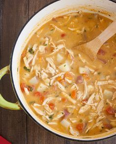 Chipotle Chicken Chowder - The chowder is chunky, packed with shredded chicken, potatoes, fresh veggies and oh so hearty. Prep it on Sunday and you'll have enough to feed your family for days; the flavor just gets better as it sits in the fridge.