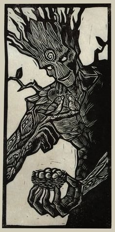 Brian Reedy ~ Groot ~ Linocut, Rice Paper, 6 x 12 inch