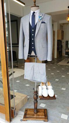 Latest Mens Fashion, Male Fashion, Groom Shoes, Slim Fit Suits, Formal Suits, Three Piece Suit, Suit Vest, Tie And Pocket Square, Groom Attire