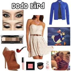 As you can see, this is the Dodo Bird costume.  I tried to use the original Dodo Bird as an example for what she will wear.  I updated the costume into a skater dress and a blue jacket.  The Dodo Bird gives Alice good and advice and in this outfit she will look the part.  The Dodo Bird is also not wearing anything too crazy because I want to emphasize that she is not insane like the others in wonderland.