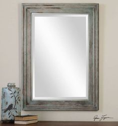 French Country Nautical Style Wall Mirror Mantel Foyer Vanity Distressed Frame $369.80