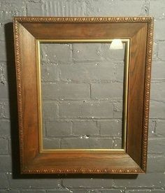 Large Edwardian Antique Oak Wooden Picture Frame with gold slip original glass