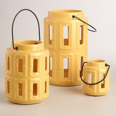 """One of my favorite discoveries at WorldMarket.com: Yellow Lamai Ceramic Lanterns. sMALL $8-20 FOR LARGE ONE.  Product Specifications Small: 3""""Dia. x 4""""H; Medium: 5""""Dia. x 7""""H; Large: 6""""Dia. x 10""""H"""