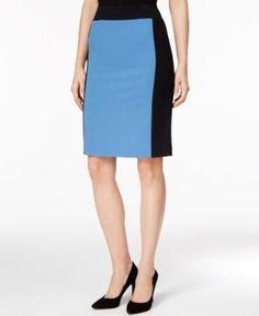 Nine West Colorblocked Pencil Skirt - Blue 12
