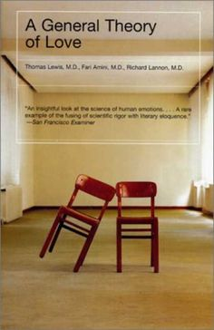 'A General Theory of Love' by Thomas Lewis is about the study of human emotions, and biological psychiatry. The success of this book cover is its clever representation of love without using cliches such as love hearts, holding hands, or human figures. Instead it uses two chairs, with one slanted against another to look like a person resting their head on someone else's shoulder. To show the intimacy between two lovers.