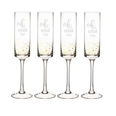 Cathys Concepts Personalized Gold Dot Contemporary Champagne Flutes Set of 4 Clear ** Click image for more details. Champagne Saucers, Champagne Glasses, Shot Glass Set, Wine Glass Set, Copper Mugs, Thing 1, Old Fashioned Glass, Gold Dots, Cocktail Glass