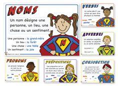 French Parts of Speech - Affiches de grammaire - Grammar Posters Superhero Classroom, Classroom Posters, Primary Classroom, Classroom Ideas, French Teaching Resources, Teaching French, Teaching English, Learn English, Teaching Grammar