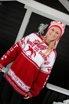 Genser : Make us dream - fremme Crochet Hooks, Crochet Pattern, Knit Crochet, Knitting Patterns, Sewing Patterns, Holiday Costumes, Liverpool Fc, Mittens, Christmas Sweaters
