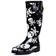 Flat Festival Wellies Wellington Knee High Rain Boots Black Rubber US 6  Spylovebuy http   19bb50bac1