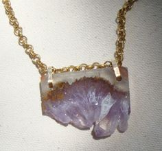 Huge Amethyst necklace. free shipping. Houndstooth and Nail.