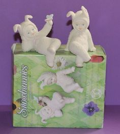 Dept. 56 Snowbunnies Stop & Smell the Roses set of 2 Easter figurines #26320 #babescollectibles